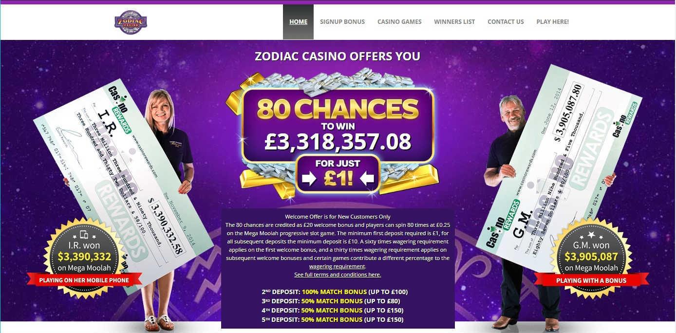 Zodiac Casino Online Casino Bonuses